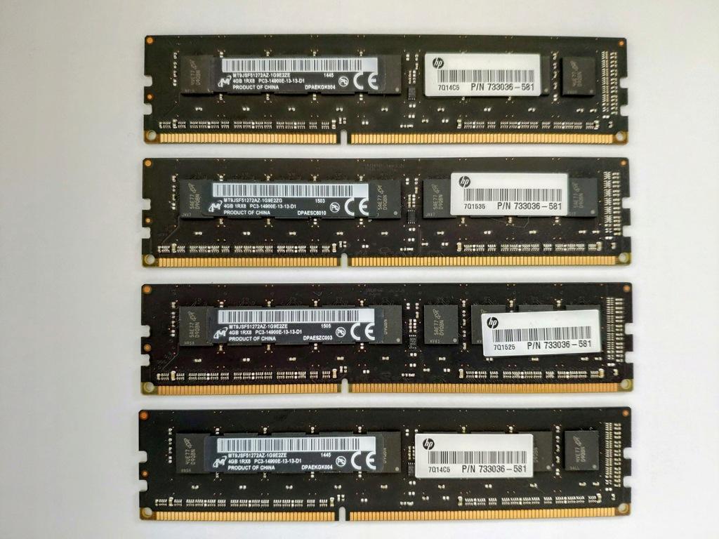 DDR3 PC3-14900E 16GB (4x4GB) Micron MT9JSF51272AZ