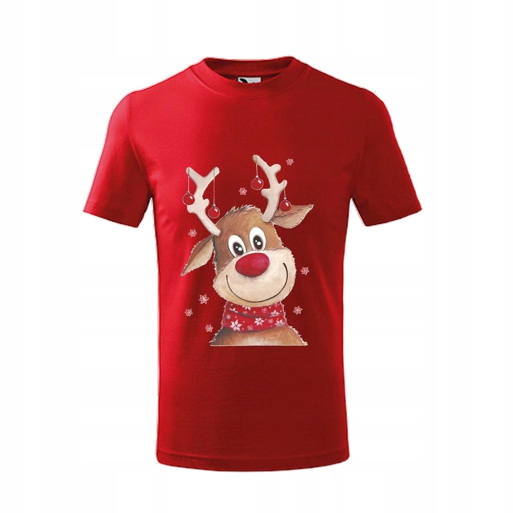 T-shirt koszulka z nadrukiem Reniferek 140