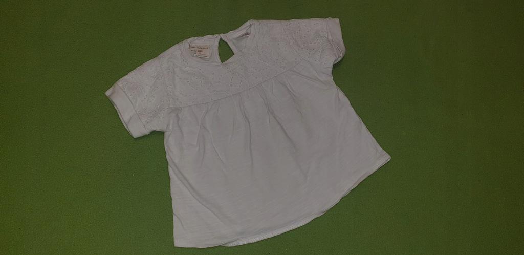 Koszulka ZARA biała hafty 80 cm