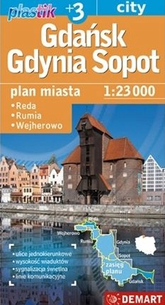 Gdańsk gdynia sopot plan miasta 1:23 000 plastik O