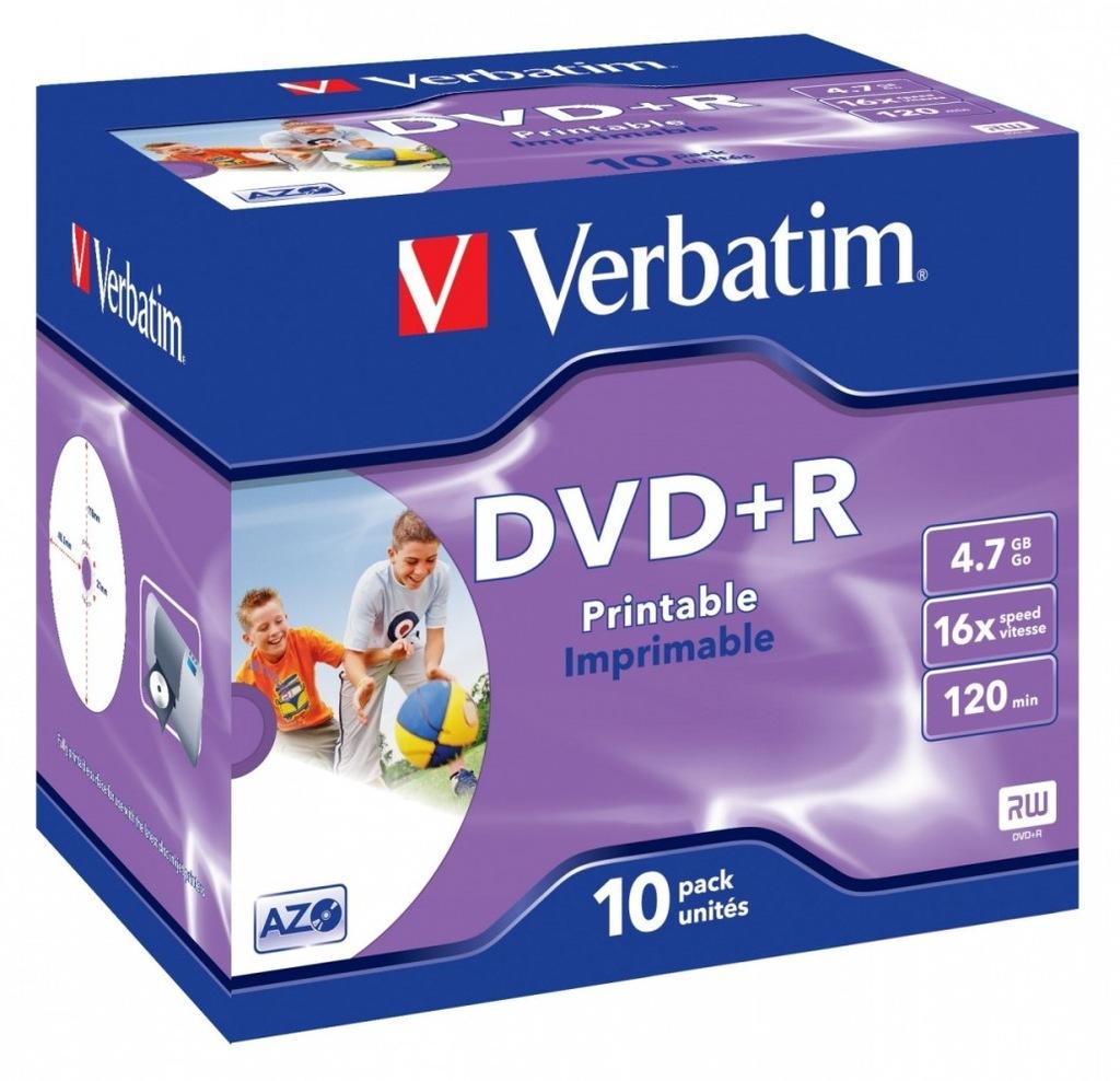 Płyty DVD+R Verbatim DVD+R 16x JC 10P Printable
