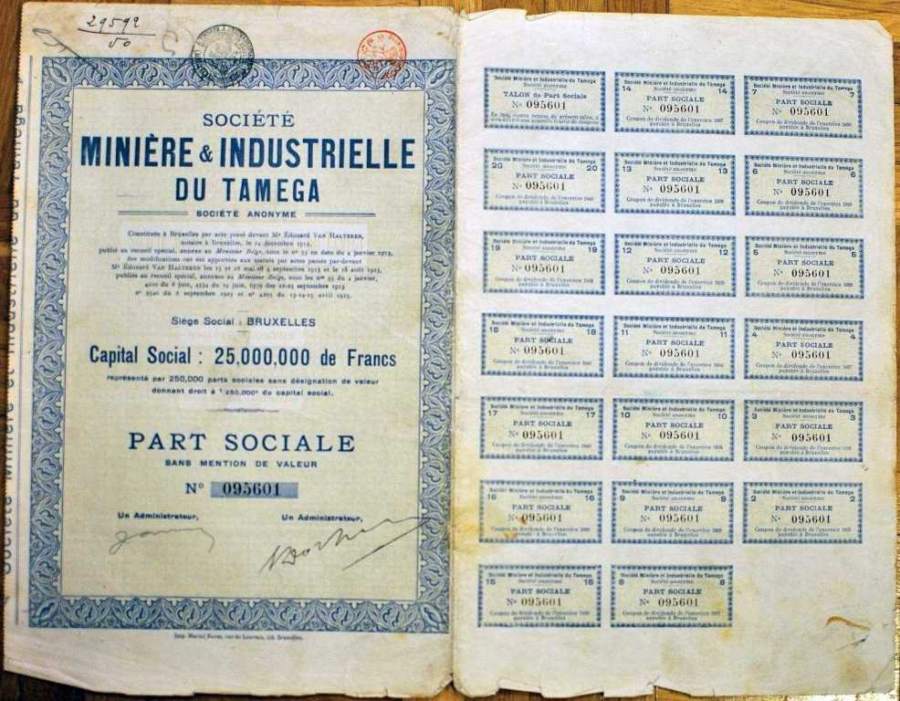 Miniere & Industrielle du Tamega - 1925 r.