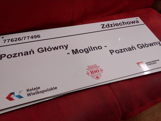 """Tablica kierunkowa KW Poznań – Mogilno""""ZDZIECHOWA"""""""