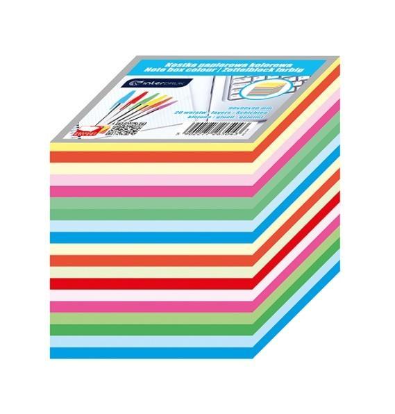 Kostka papierowa kolorowa 90x90x90mm paski INTERD