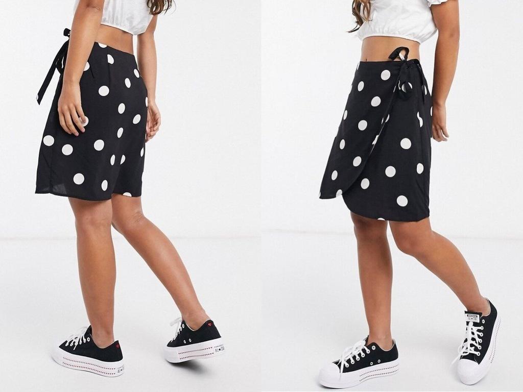 New Look Kopertowa spódnica w groszki L/40