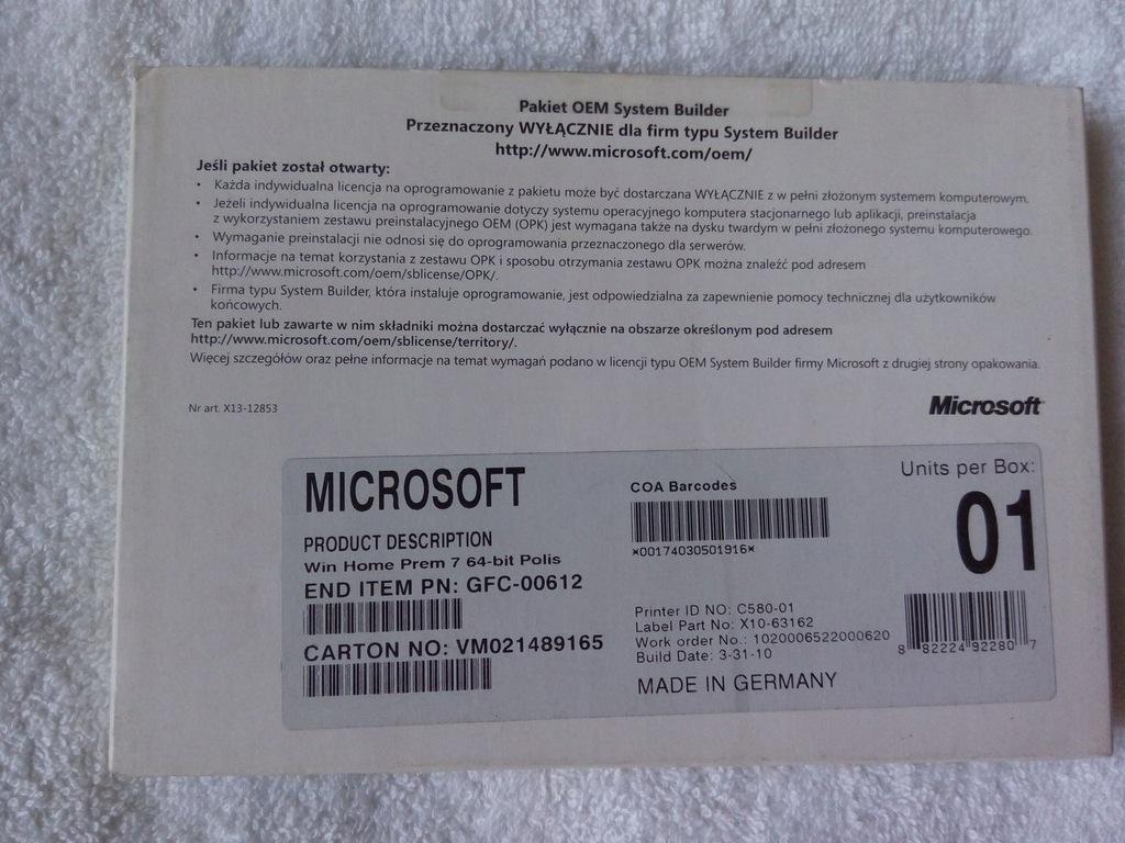 Windows 7 Home Premium 64bit PL