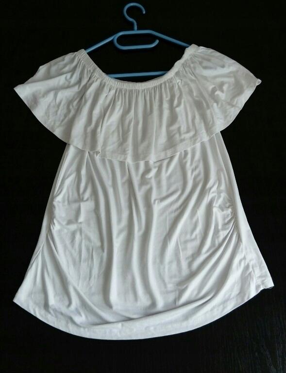 Biała bluzka ciążowa typu hiszpanka, bawełna