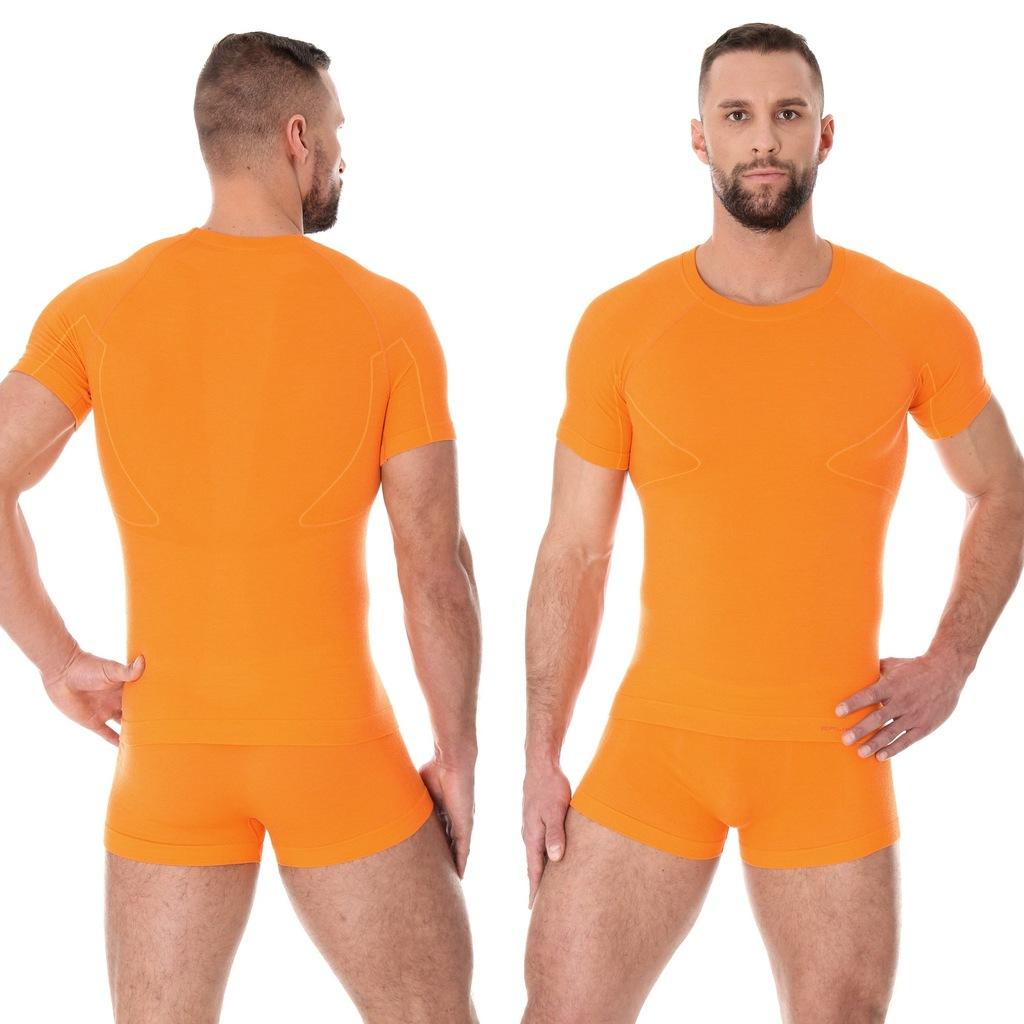 BEZSZWOWA KOSZULKA MĘSKA BRUBECK Ac Wool Orange XL