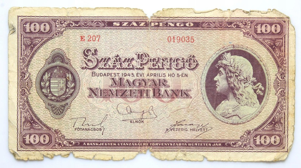 BANKNOT - Węgry - 100 Pengo 1945