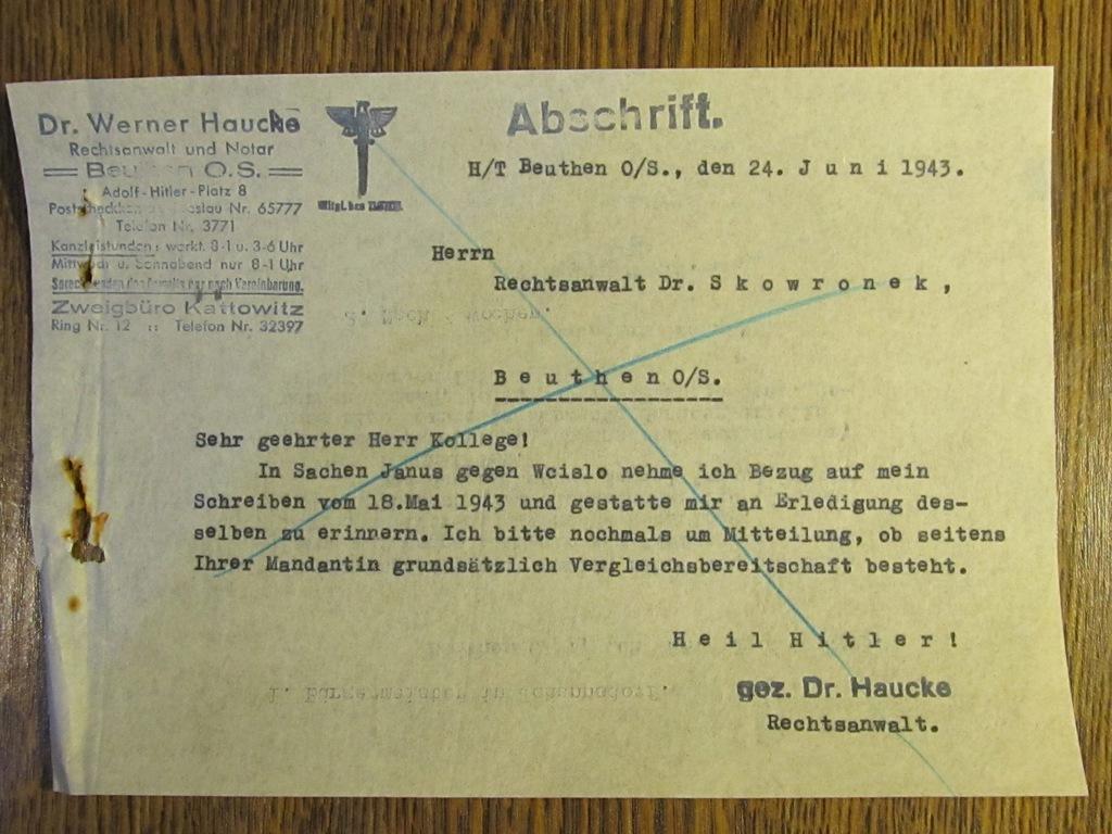 Dokument Niemcy Bytom-Berlin 1942 r. (A3)