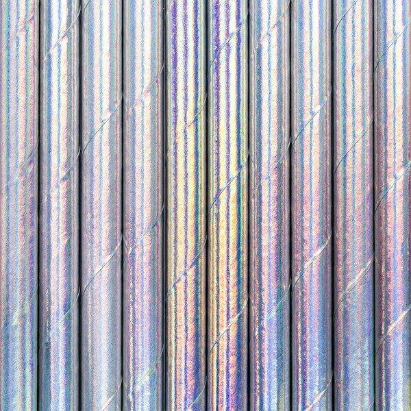 Słomki papierowe, opalizujący, 19,5cm, 10 szt.