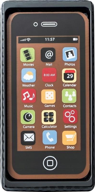 Czekoladowy smartfon czarny telefon gadżet