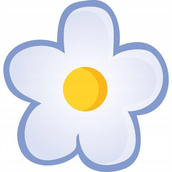 Niebieski kwiat 30x30cm naklejka dziecko ścienna