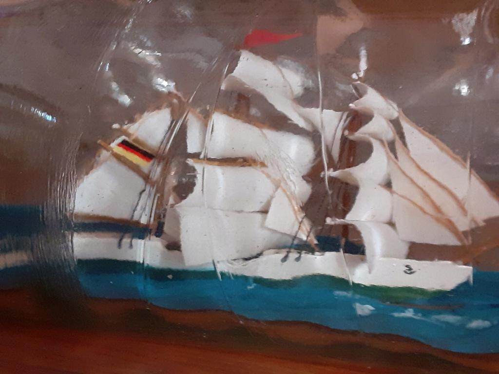 statek w starej butelce - 29cm- rafandynka