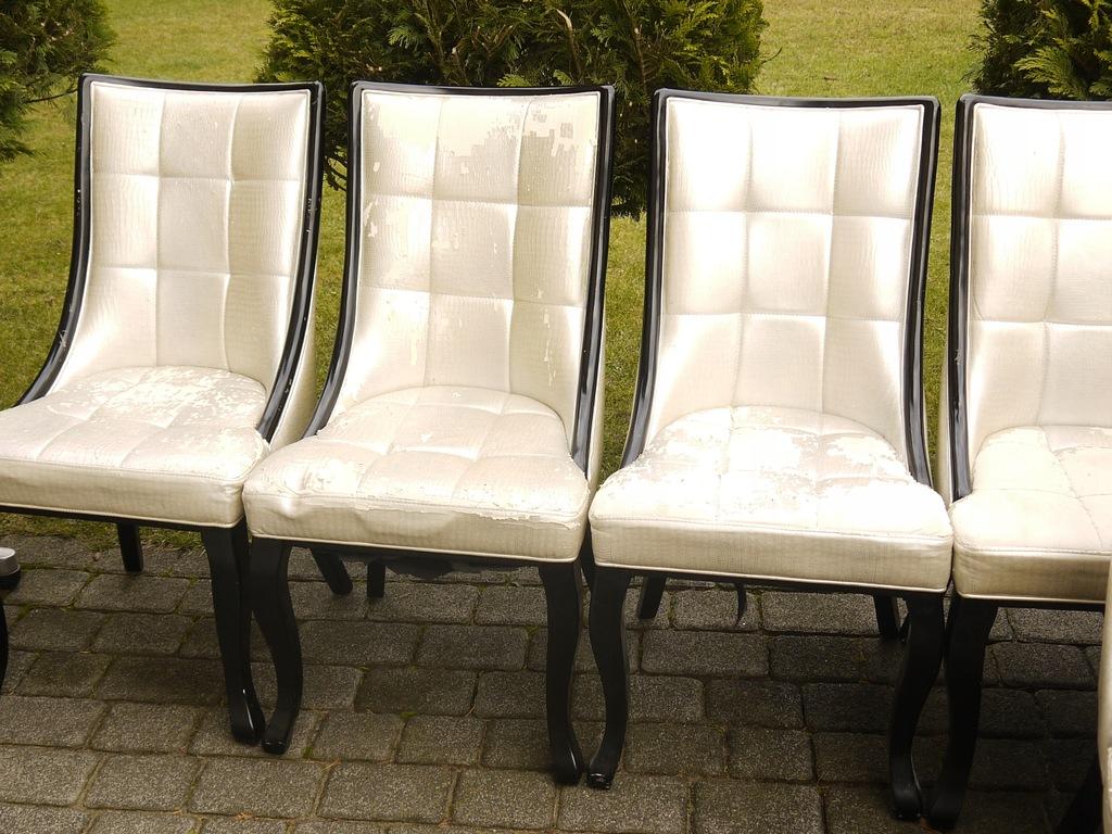 Piękne krzesła tapicerowane z litego drewna 8 szt.