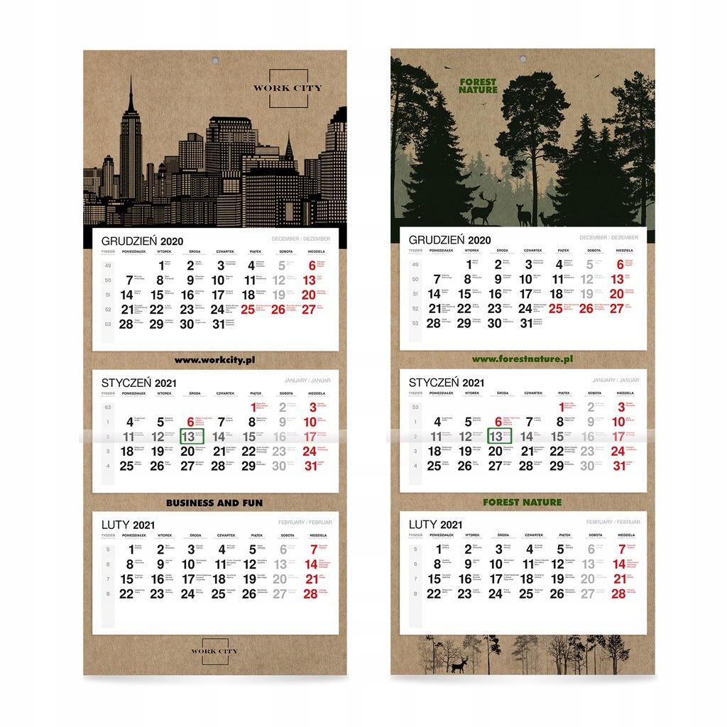 EKO kalendarz kalendarze trójdzielne KRAFT x100