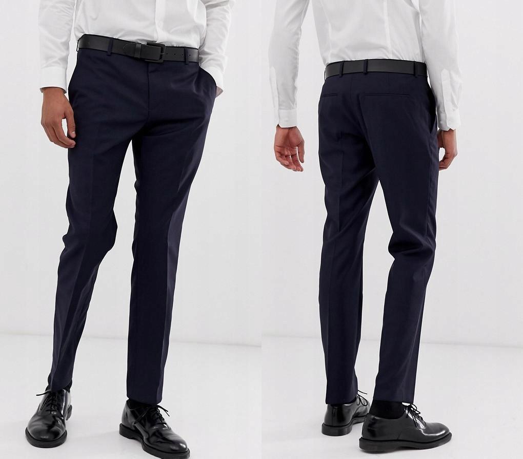 CALVIN KLEIN Granatowe spodnie slim fit (W32L32)