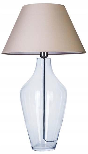 Lampa stołowa szklana przezroczystya z abażurem