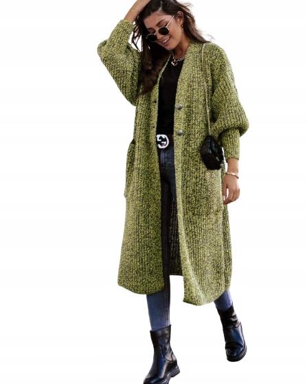 Płaszcz Sweter długi COCOMORE ciepły zieleń