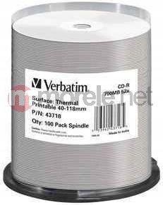 Verbatim CD-R 52x Cake 100 szt AZO Thermal Nadruk