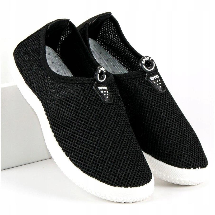 Czarne Tekstylne Buty Damskie Sportowe r.39 7439413386