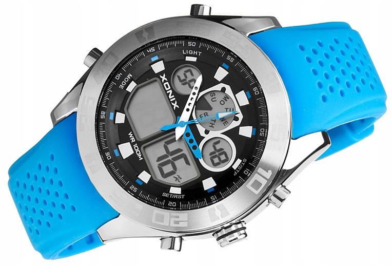 Młodzieżowy DUŻY Zegarek XONIX DualTime Stalowy