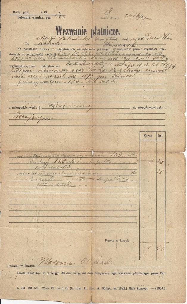 WEZWANIE PŁATNICZE KOŁOMYJA 1902