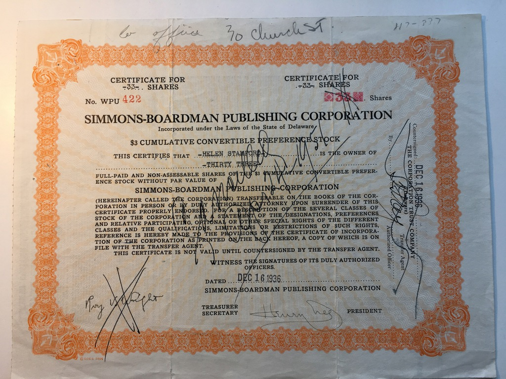 SIMMONS - BOARDMAN PUBLISHING 1936