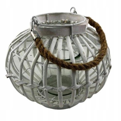 Świecznik latarnia drewniana ze sznurkiem biała