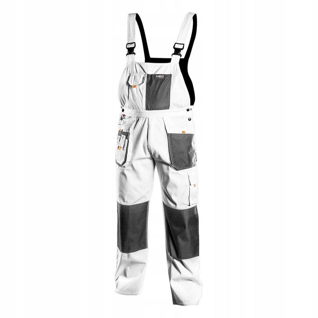 Spodnie robocze na szelkach białe HD rozmiar LD/54