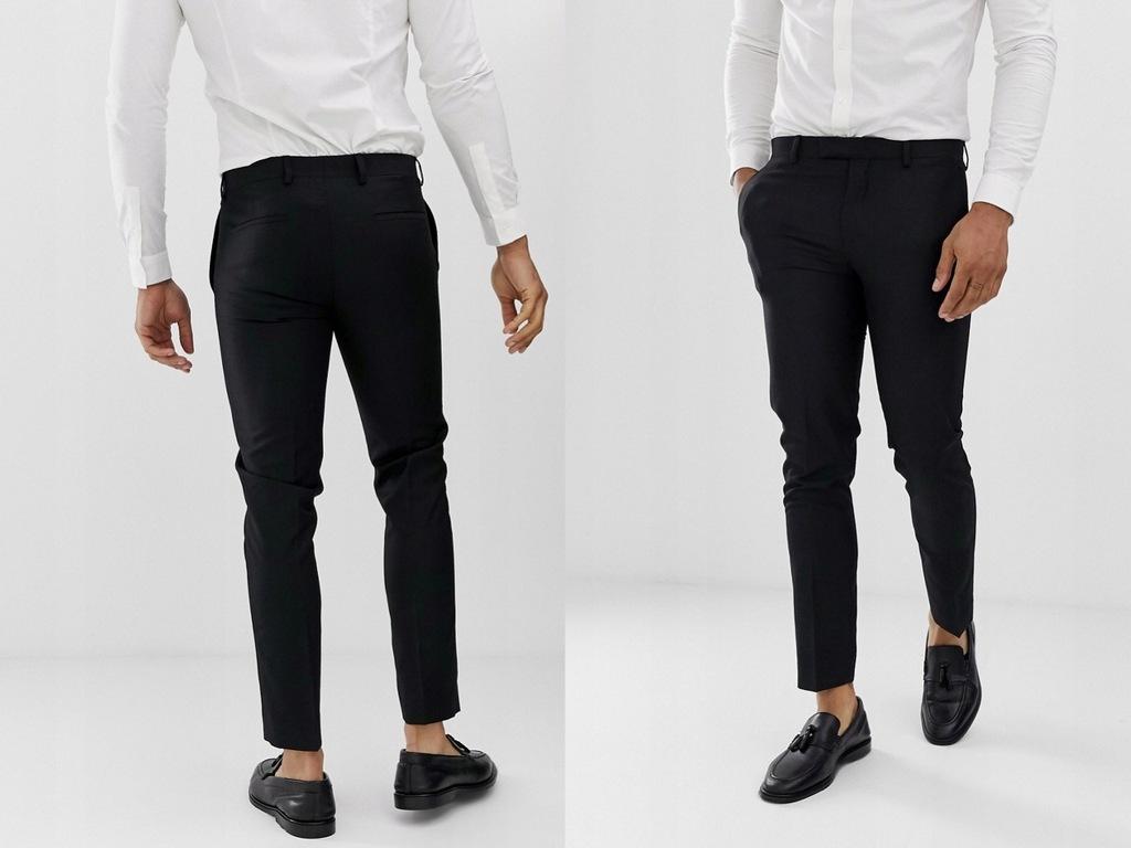 River Island czarne eleganckie spodnie W34 L32