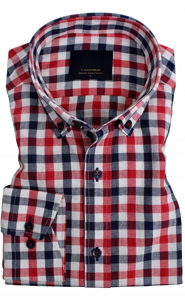 Koszula Krata Codzienna 100% Bawełna Slim XL 43 44  m8Ozd