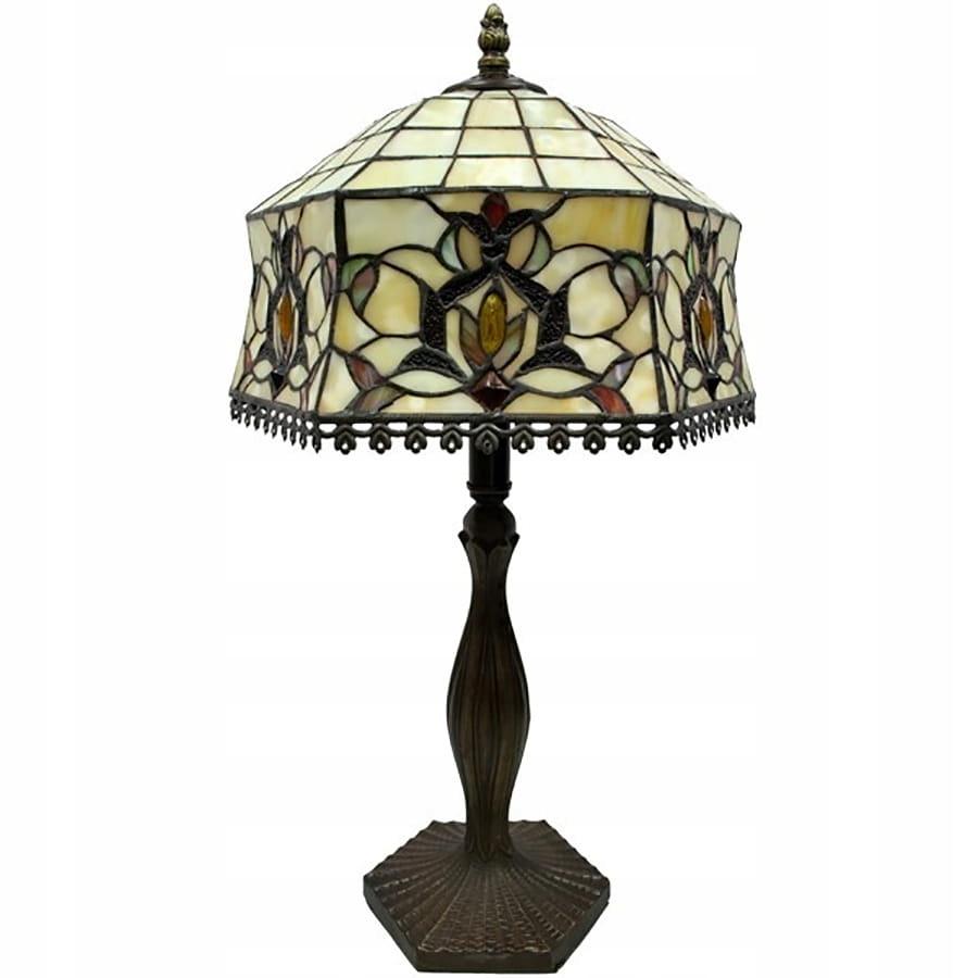 Lampa witrażowa ze szklanym kloszem metalowa