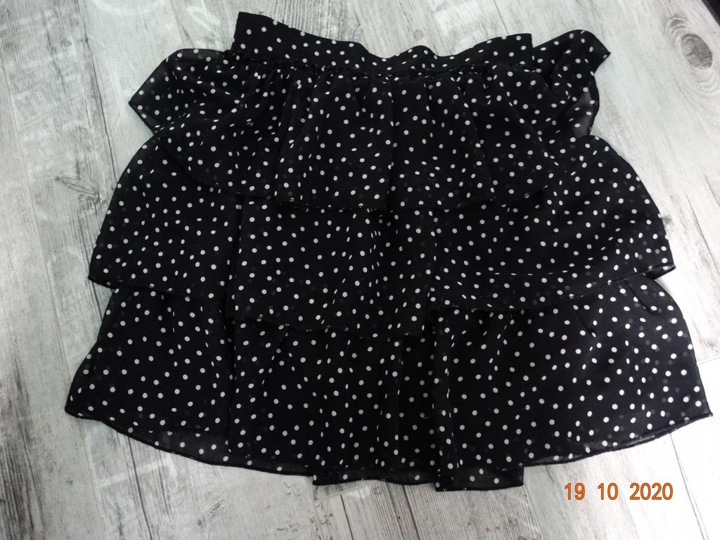 PIĘKNA spódnica DZIEWCZĘCA falbany czarna r.134 cm