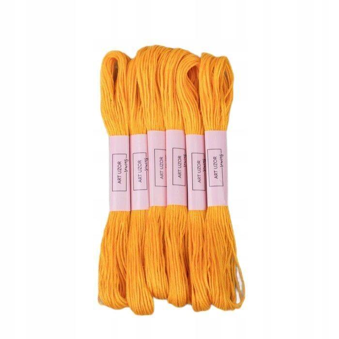 24 szt. nici mulinowe 8 ± 1 m kolor ciemnożółty