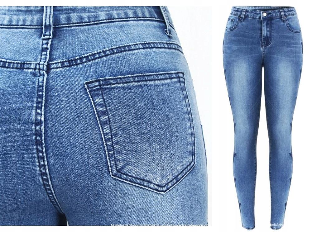 Modne spodnie jeans rurki elastyczne gwiazdki 3XL