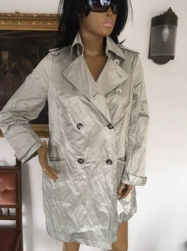 Elegancki płaszcz trencz beżowy jasny szary L 40