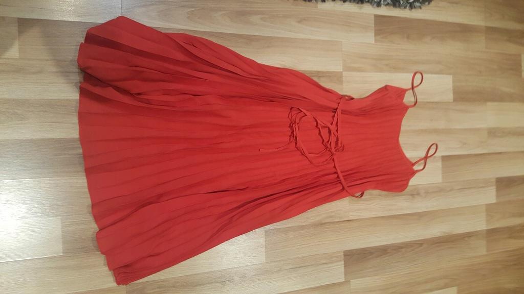 Mango sukienka midi xs plisowana czerwona