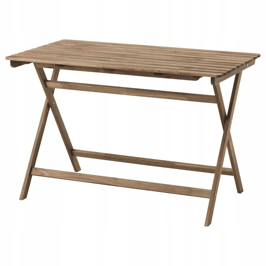 ASKHOLMEN Stół, ogrodowy, składany szarobrązowa