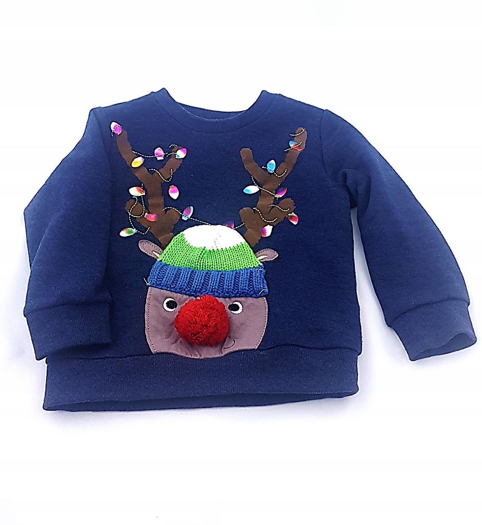 F&F sweterek świąteczny, renifer. R. 2-3 lata