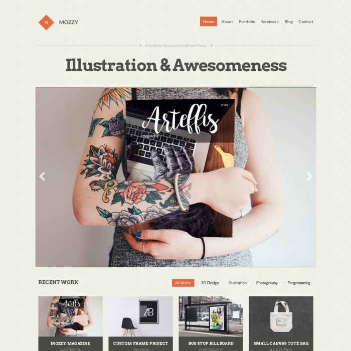 Szablon Mozzy Portfolio Business WordPress Theme