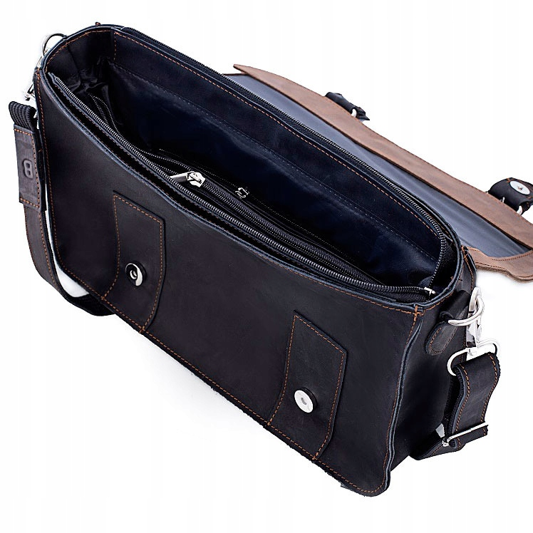 SKÓRZANA torba BRODRENE BL11 c.brązowo czarna 8121823625