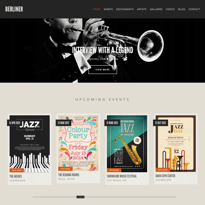 Szablon Berliner Music WordPress Theme