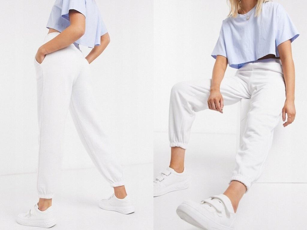 New Look Białe spodnie dresowe joggery M/38