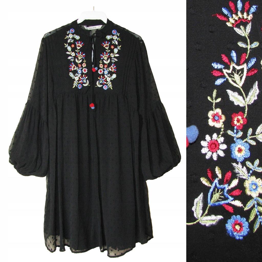 zara sukienka folkowa hafty kwiaty xs