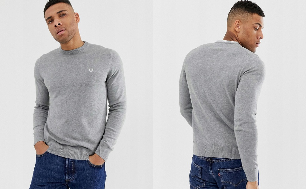 P3H202*FRED PERRY SWETER SZARY LOGO S P00