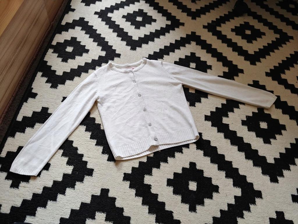Biały sweter rozpinany 110-116cm 5-6l bdb