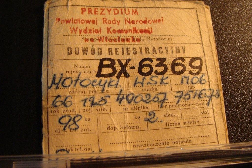 kolekcjonerski stary dowód rejestracyjny wsk