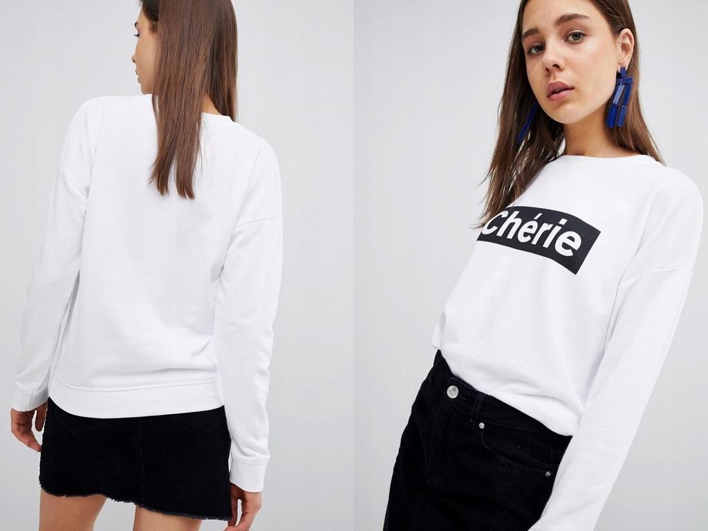 New Look Biała Bluza z Nadrukiem XS/34