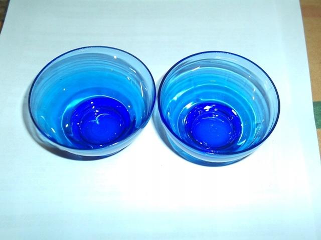 pucharki szkło fioletowe 2 szt 7 cm średnica